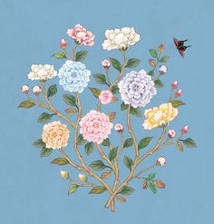꽃가지 겨울_파랑 Korean Art, Asian Art, Blue Butterfly Wallpaper, Motif Floral, Pencil Illustration, Fabric Painting, Botanical Prints, Chinese Art, Pattern Art