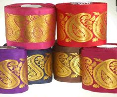 Neotrims India Paisley Sari Ribbons Trimming Silk Poyester Satin Gold for Sewing. Great For Crafts and Hobbies; Indian Bridal Outfits, Ribbon Bows, Ribbons, Haberdashery, Paisley, Burgundy, Sari, Traditional, Mocha Brown