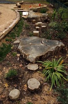 Community Garden Idea... nice idea for natural pathway... let the children play: just add stones, logs, stumps and mounds.