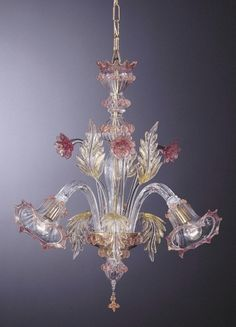 Clear Glass Chandelier with Gold and Pink Accents