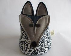 IHeartStitchingSA on Etsy Fox doorstop Doorstop Pattern, Fox Pattern, Owl Patterns, Crochet Patterns, White Leaf, Blue And White, Geometric Owl, Door Stop, Cute Designs