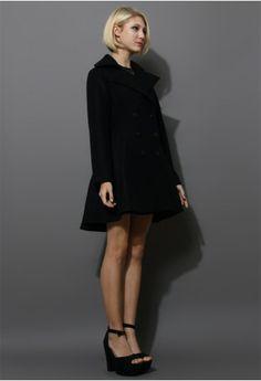 Flare Hem Double Breast Wool Coat