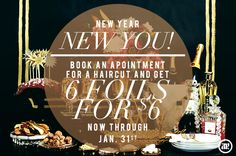 In honor of the holiday spirit, we're starting our January promotion early, just in time to get a new look for all of those New Years parties! New year, new YOU! Come in for a cut and get 6 foils for only $6.00. Call 410-643-4180 to book your appointment now, before time runs out! salonatelierki.com