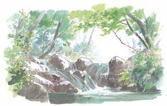 Tumblr Watercolored nature backgrounds from the Studio Ghibli film The Tale of Princess Kaguya (かぐや姫の物語), illustrated by Kazuo Oga (男鹿和雄). A good portion of the Princess Kaguya Roman Album EXTRA (Amazon US   JP) is dedicated to the background art and the many artists involved.