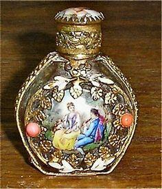 Superb French Austrian Glass Perfume Bottle Hand Painted Porcelain Gilt Metal
