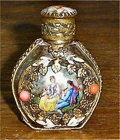 Superb French Austrian Glass Perfume Bottle Hand Painted Porcelain Gilt Metal