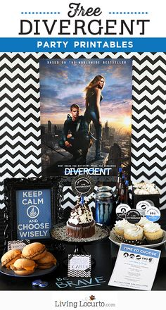 Party Ideas I'm such a fan! Love these Divergent or Insurgent Party Ideas and Free Party Printables. I'm such a fan! Love these Divergent or Insurgent Party Ideas and Free Party Printables. Divergent Birthday, Divergent Party, Divergent Hunger Games, Divergent Fandom, Divergent Trilogy, Divergent Insurgent Allegiant, Insurgent Quotes, Divergent Quotes, 16th Birthday