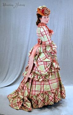 A fantastic late 1860's plaid dress by Lauren of Wearing History.