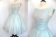 Prom Party Vintage 50s Dress Ice Blue Shelf Bust Pleat Waist Ivory Chantilly Lace Shiny Iridescent Taffeta Metal Zip 1950s Party Dresses