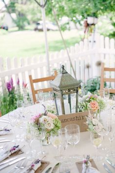 Rustic Lantern for centerpiece for the large tables