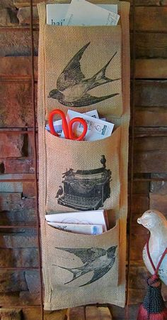 Burlap Wall Mail Holder / Vintage Birds and by GardenHollowStudio, $25.00