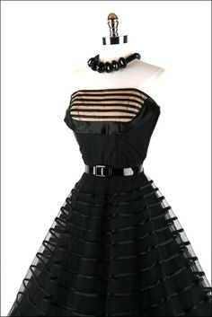 1950's Fred Perlberg black tulle party dress