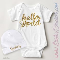 Hello World Gold Glitter Infant Creeper, Newborn Clothes, Baby Shower Gift, Coming Home Outfit, Baby One-Piece Bodysuit, Made To Order by BrileyStudios on Etsy