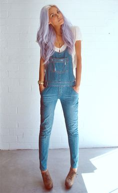 I'm digging her hair and her overalls!