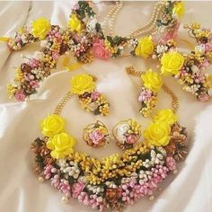 pink & yellow Flower Gota Patti Jewellry Set Necklace Earrings,Bracelet, rings, Tiara 8 pieces - floral jewelry for mehndi - Bridal Flowers, Floral Flowers, Yellow Flowers, Pink Yellow, Colorful Flowers, Beautiful Flowers, Indian Wedding Jewelry, Bridal Jewelry, Indian Jewelry