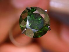 1.37 carat Solitaire Green Diamond Round loose natural Fancy Color Enhanced rare #gemsindia