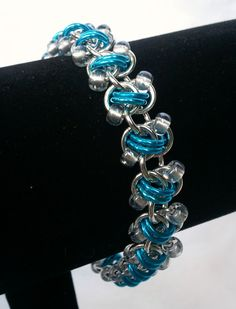 turquoise rapid track chainmaille bracelet by galiam34jewelry, $20.00
