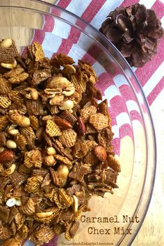 Caramel Nut Chex Mix at ReluctantEntertainer.com