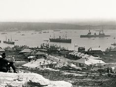 The 'Australia', part of the first Royal Australian Navy fleet to come to Sydney Harbour. Seen from at Watsons Bay, 4 October Arthur Allen. Mitchell Library, State Library of New South Wales Modern Pictures, Old Pictures, Old Photos, Bronte Beach, Terra Australis, Royal Australian Navy, Sydney Australia, Continents