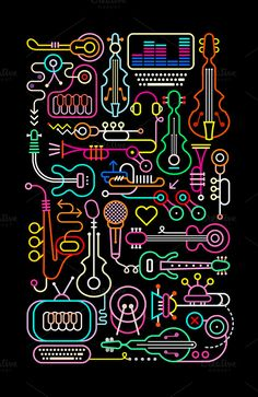 Music Shop Vector Illustration by dan on @creativemarket