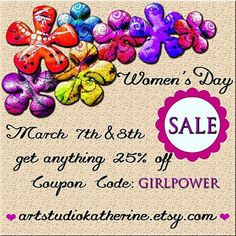 Women's Day Sale Two day sale 25 % off by ArtStudioKatherine Second Day, Ladies Day, Girl Power, Celebrities, Celebs, Famous People