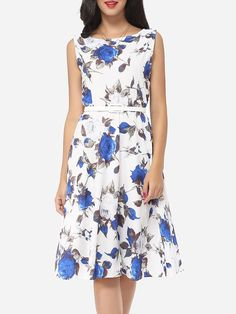 Floral Printed Single Button Chic Boat Neck Skater-dress Only $18.3 USD More info...