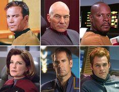 Original Series (Shatner), Next Generation (Patrick Stewart), Deep Space Nine (Avery Brooks), Voyager (Kate Mulgrew), Enterprise (Scott Bakula), new movies (Chris Pine).
