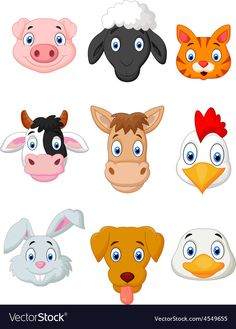 Cartoon farm animal set vector image on VectorStock Animal Pictures For Kids, Animal Crafts For Kids, Animal Projects, Animal Heads, Animal Faces, Farm Animals, Cute Animals, Farm Cartoon, Imprimibles Toy Story