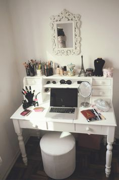 A desk with room for you to store & do your makeup that also has room for you to do slightly more productive things....