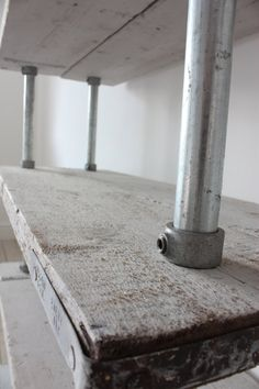 Reclaimed Whitewashed Scaffolding Boards and by inspiritdeco - Made with Kee Klamp Fittings