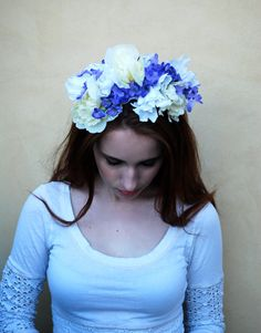 Darling Lavender and White Flower Crown, Floral Headband