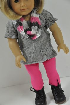 American Girl Doll Clothes Trendy Gray Peasant Tunic Top With Pink Leggings And…