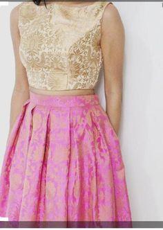 Pink beige brocade choli design for lehenga - indian dresses Choli Designs, Brocade Blouse Designs, Saree Blouse Designs, Long Gown Dress, Lehnga Dress, Lehenga Blouse, Brocade Lehenga, Lehnga Choli For Girls, Banarasi Lehenga