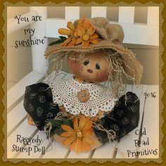 NEW  for 2016 from Old Road Primitives ...You are My Sunshine Raggedy Stump Doll ! If you haven't noticed we love, love  raggedy's here at ORP. This is darling little raggedy is a half  raggedy or stump doll . Stump dolls sit nicely on most any surface. This little raggedy has a darling  little face that you will learn how to paint in this pattern. ORP's painted faces are super easy...simply trace and paint. You are going to love working with this ORP  pattern.