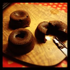 Callum's Chocolate Fondants. Masterchef Australia 2. Halved the recipe, used mum's old cupcake baking tray and took out of the oven after 9 mins. Success!
