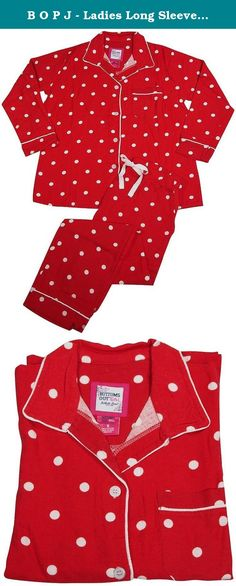 B O P J - Ladies Long Sleeve Dot Print Cotton Flannel Pajama Set, Cherry Red 38637-Large. B O P J - Ladies Long Sleeve Brushed Cotton Flannel Pajama Set, Classic Coat Style Button Down Top, Chest Pocket, Notch Collar, Contrast Piping Trim, Comfortable Pajama Pants, Full Elastic Waistband with Ribbon Drawstring Tie, Side Pockets, 100% Cotton, Made in India, #38637 38-637.