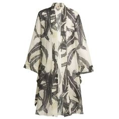 Adriana Degreas Martinique-print silk crepe de Chine cover-up (730 AUD) ❤ liked on Polyvore featuring swimwear, cover-ups, beach cover up kimono, beach cover up, bathing suit cover up, swim cover up and cover up bathing suits