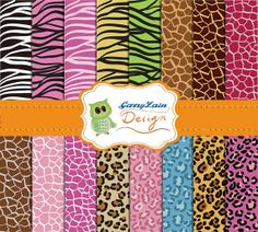 Animal digital paper, animal print, pattern, printable animal paper set, leopard giraffe zebra, for scrapbooking, paper craft, CLD-0002