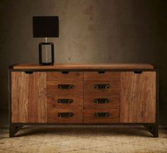 A beautifully crafted centre-piece with a combination of cupboards and drawers with wrought handles. Featuring adjustable feet, rich honey-coloured elm combined with sturdy architectural steel framing. Black Furniture, Centre Pieces, Cupboards, Blacksmithing, Steel Frame, Sideboard, Drawers, Honey, Cabinet