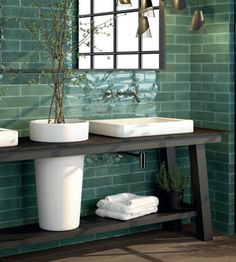 Wall tile Cifre Opal Emerald green strappy x 30 Trend Retro Top Modern in . - Wall Tile Cifre Opal Emerald Green Strappy x 30 Trend Retro Top Modern in DIY, Flooring & Tilin - White Subway Tile Bathroom, Small Bathroom Tiles, Dyi Bathroom, Kitchen Tiles, Bathroom Remodeling, Bathroom Storage, Tile Installation, Bathroom Interior Design, Bathroom Inspiration