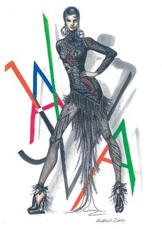 Versace, Il costume disegnato per Zizi Jeanmaire e lo spettacolo Java for Ever del 1988. Manuela Brambatti. Fashion Illustrations, Headpieces, Old And New, Versace, Batman, Dance, Superhero, Drawings, Fictional Characters