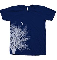 Tree Tshirt Mens Unisex Hand Screen Print by Couthclothing on Etsy, $18.00
