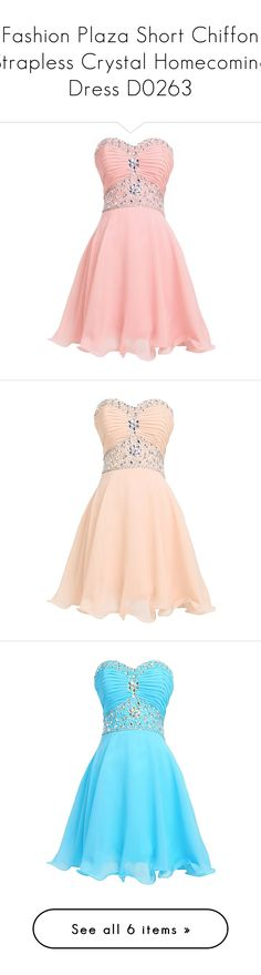 """""""Fashion Plaza Short Chiffon Strapless Crystal Homecoming Dress D0263"""" by sweetie-hart ❤ liked on Polyvore featuring dresses, lullabies, pink, strapless chiffon dress, short dresses, chiffon cocktail dresses, pink cocktail dress, short strapless dresses, vestidos and short homecoming dresses"""