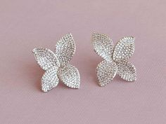 Silver bridal studs, statement stud earrings, large crystal studs, orchid shaped stud earrings, silver jewelry