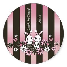 Cute Animal Round Sticker for Girls: Girly Thank You Sticker for Birthdays and Baby Showers: Pink: Twins