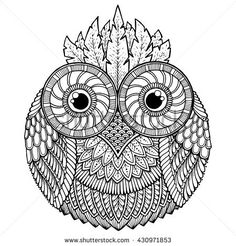 Birds theme. Owl black and white mandala with abstract ethnic aztec ornament pattern. Owl tattoo. Page for coloring book. Zentangle style. Stylized Owl.