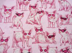 Schweine sind cool, Patchworkstoff,Benartex von Made by Heidi auf DaWanda.com