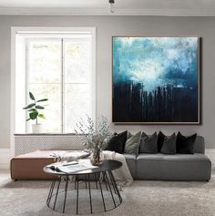 Blue Abstract Painting, Oil Painting On Canvas, Sky Painting, Textured Painting, Abstract Canvas, Black Abstract, Large Painting, Canvas Art, Abstract Paintings