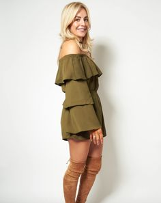 Thalia Khaki off the shoulder jumpsuit now in the sale for just Shop now> Off The Shoulder Playsuit, Shoulder Dress, Thalia, Shop Now, Peplum, Jumpsuit, Queen, Shopping, Collection