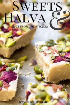 Halva with citrus and orange pieces of jerusalem Great Desserts, Delicious Desserts, Dessert Recipes, Yummy Food, Indian Food Recipes, Gourmet Recipes, Halva Recipe, Lithuanian Recipes, Biscuit Recipe